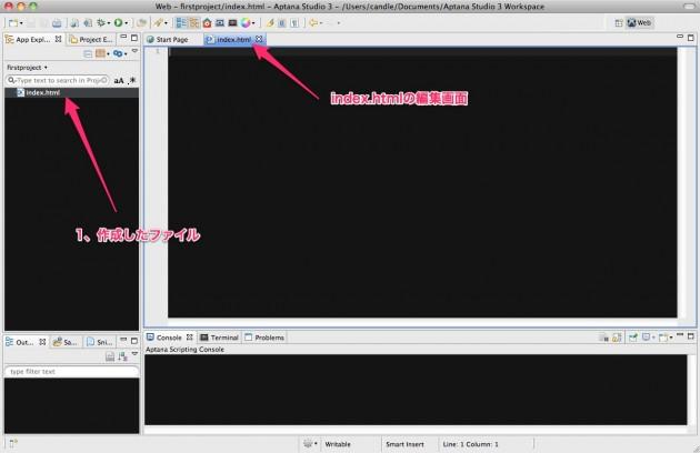 Web - firstproject_index.html - Aptana Studio 3 - _Users_candle_Documents_Aptana Studio 3 Workspace